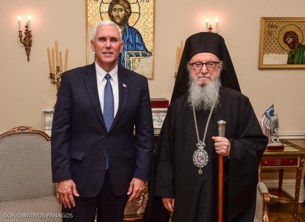 Republican Vice Presidential Nominee Mike Pence Visits Archbishop Demetrios