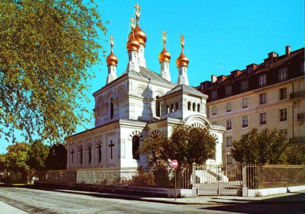 Exterior of the Russian Cathedral in Geneva renovated