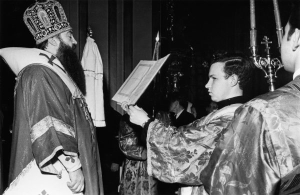 The future Patriarch Kirill as Subdeacon to Metropolitan of Leningrad and Novgorod Nikodim (Rotov), the 1960s