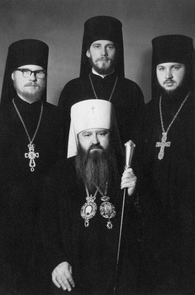 With Metropolitan Nikodim (Rotov), The 1970s.