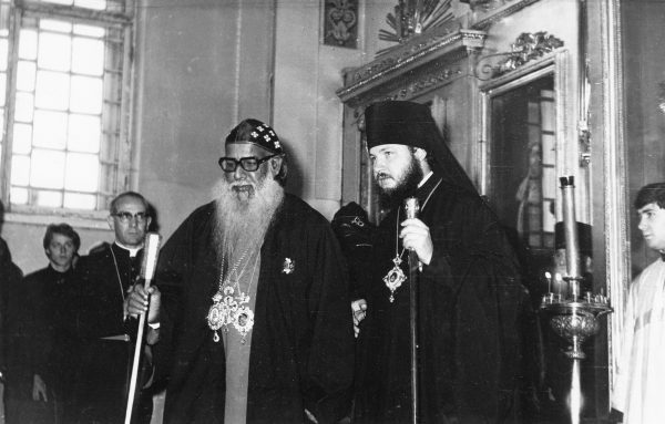 Greeting a foreign delegation in the Leningrad Theological Academy, the 1970s.