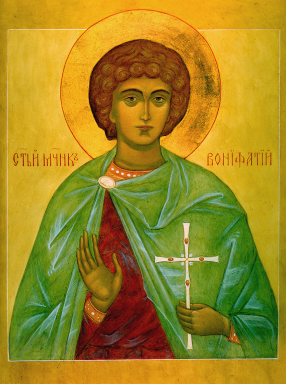 Holy martyr Boniface, a modern icon. Source iconsv.ru.