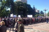 Priests, flock of Ukrainian Orthodox Church rally in front of Ukrainian parliament against bill on 'special status' of their church