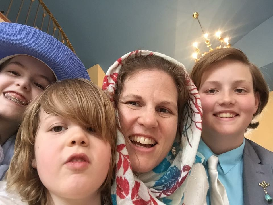 Matushka and the kids on Pascha 2017