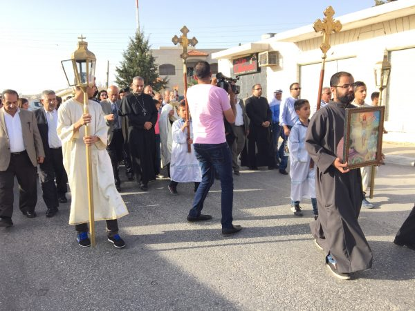 Receiving the miracle of the holy fire in Taybeh, 2017