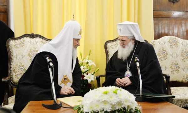 His Holiness Patriarch Kirill meets with His Holiness Patriarch Neophyte of Bulgaria and members of the Holy Synod of the Bulgarian Orthodox Church