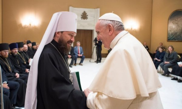 Russian Orthodox Church Delegation Led by Metropolitan Hilarion Meets with Pope Francis