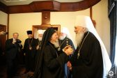 Members of the Ukrainian Orthodox Church's Synod meet with Patriarch Bartholomew of Constantinople
