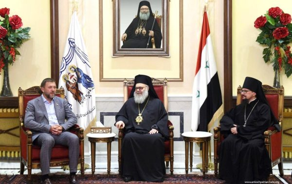 Primate of the Orthodox Church of Antioch Receives a Delegation from Russia