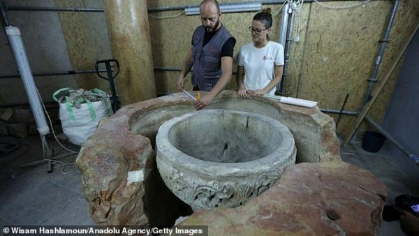 'Magnificent' 1,500 Year-Old Baptismal Font is Discovered in Church at Birthplace of Jesus in Bethlehem