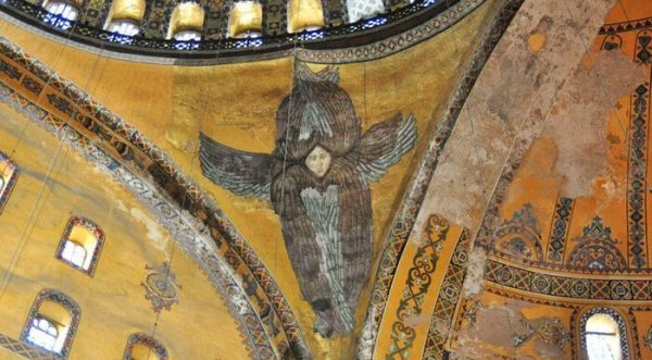 Seraphim Mosaic Revealed with Removal of Scaffolding in Hagia Sophia