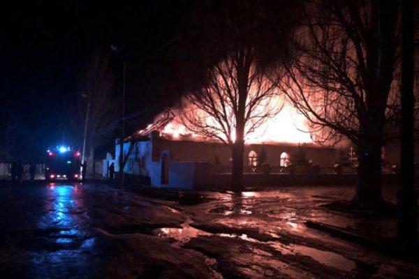 Fire Completely Destroys St. Basil Church in Donetsk Region