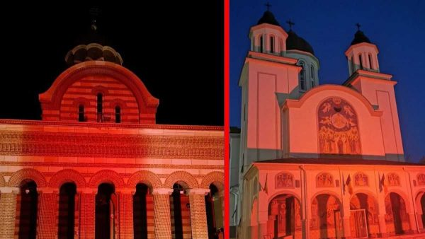 Romanian Churches Illuminated in Red Draw Attention to Global Persecution of Christians